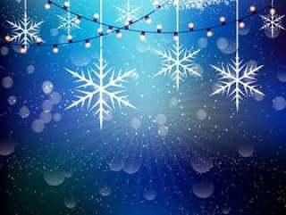 圣诞雪花和灯