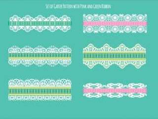 绿色和粉红丝带的袜带模式集