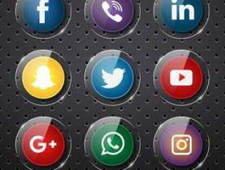 有光泽的塑料社交媒体图标