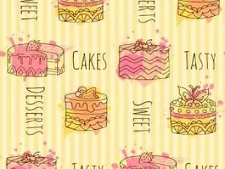 与矢量蛋糕插画的无缝模式。 4手绘蛋糕与多彩飞溅的集合。