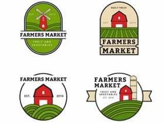 农民市场标志集合