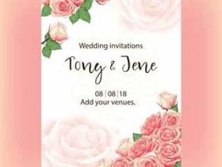 婚礼与水彩桃红色玫瑰花的邀请卡片。