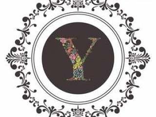 字母Y首字母与花卉矢量