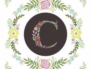 字母A首字母与花卉矢量