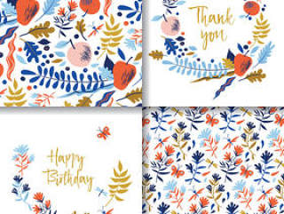 彩绘花卉祝福卡片