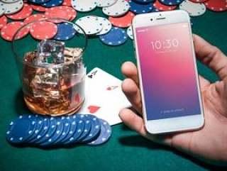 智能手机样机与赌场概念