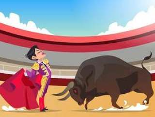 斗牛士与愤怒的公牛矢量