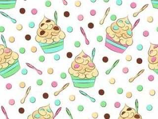 可爱的无缝冷冻的酸奶模式。甜冷甜点矢量设计。