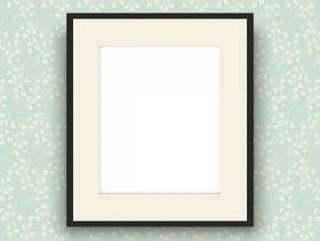 复古风格壁纸上的空白图片框架