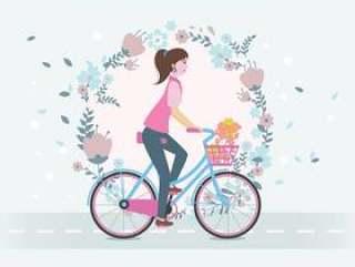 骑自行车矢量的女人