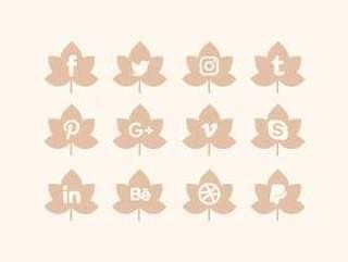 社交媒体图标的矢量集合
