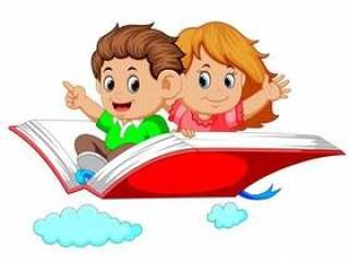 快乐的孩子在大本打开的书上飞