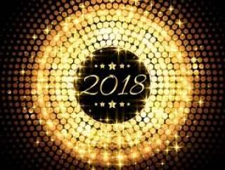 美丽的闪光发光2018年新年聚会庆祝背景