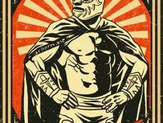 老式的墨西哥摔跤手海报