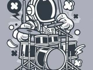 宇航员鼓手卡通