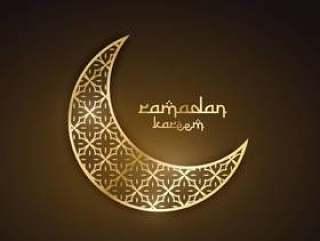 创意金色月亮与抽象图案斋月节desi