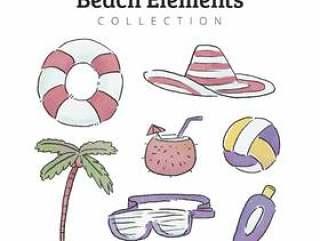 在水彩风格的海滩元素集合