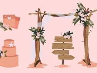 海滩婚礼元素矢量插图集