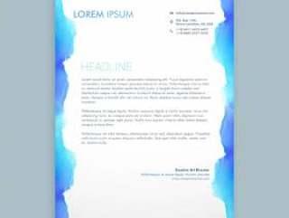 信笺设计与蓝色墨水模板矢量设计插画