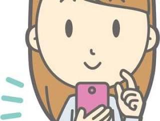 女大学生 - 智能手机操作 - 半身像