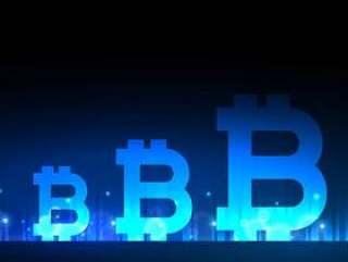 具有蓝色光效的创意比特币设计