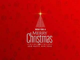 优雅红色圣诞背景与创意树设计