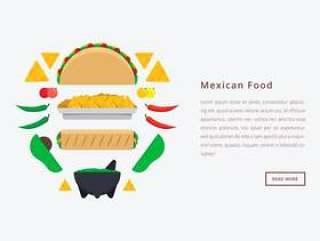 Molcajete墨西哥传统食物和研磨工具。网页模板。