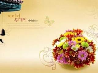 鲜花背景PSD分层素材-7