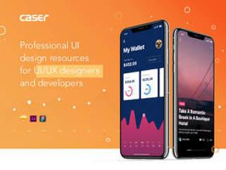 用于Sketch,XD和Figma的移动UI工具包,Caser UI工具包
