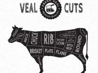 小牛肉削减矢量图中的复古风格