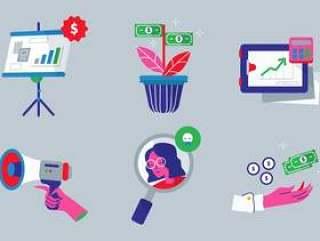 获取收入业务元素矢量平面插画