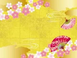 背景材料与春天金叶日本纸,云,樱花和球迷