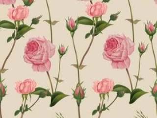 Pink rose seamless pattern ,retro style