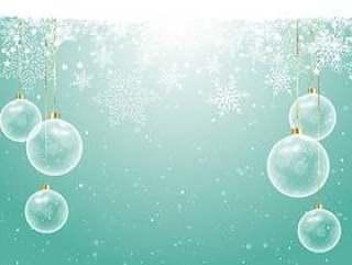 在雪花背景上的圣诞小玩意