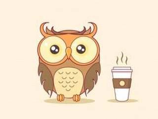 与通入蒸汽的咖啡杯传染媒介例证的夜猫头鹰
