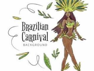 有叶子的性感和热带巴西舞蹈家