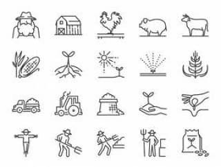 农场和农业线图标集。