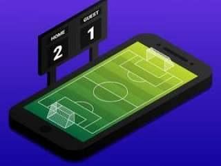 与足球场和指示器板的等量足球网上概念在智能手机
