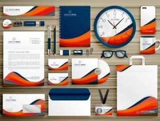 企业标识业务模板设计设置与橙色的蓝色