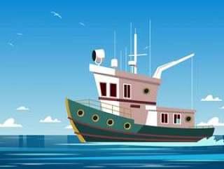 拖网渔船力量小船传染媒介