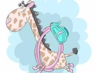 逗人喜爱的小长颈鹿跑到学校动画片手拉