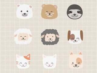 可爱的可爱动物脸图标