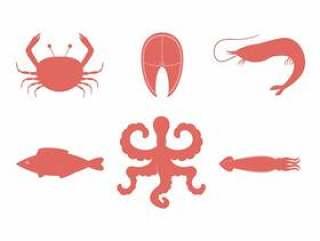 海鲜平颜色图标