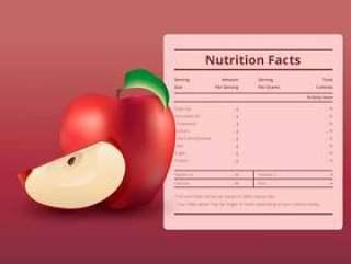 一个营养事实标签与苹果果实的插图