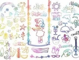 明信片的热带插图集(多彩)