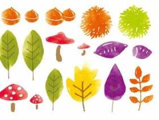 秋天的落叶和食物的水彩画集合