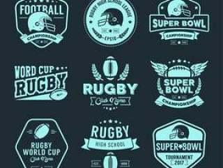 橄榄球徽章和标签集合
