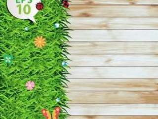 Vector green grass on wood texture background