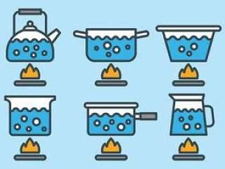 沸腾的水矢量图标