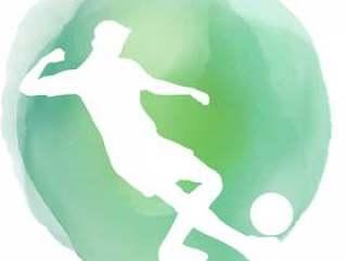 在水彩背景的足球运动员剪影